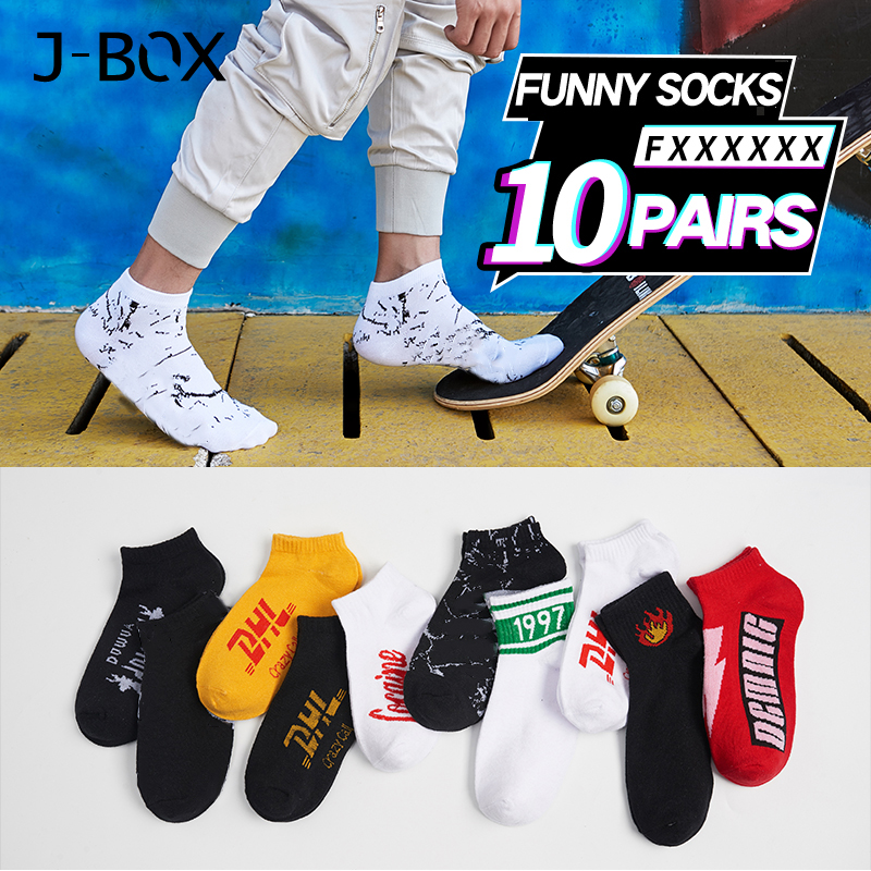 J-BOX 10 Pairs Cotton Happy Men   Socks   DHL Cool Hip Hop harajuku Short   Sock   Skateboard Autumn Winter Breathable Ankle Funny   Socks
