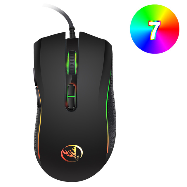 Hongsund  High-end optical professional gaming mouse with 7 bright colors LED backlit and ergonomics design For LOL CS 2