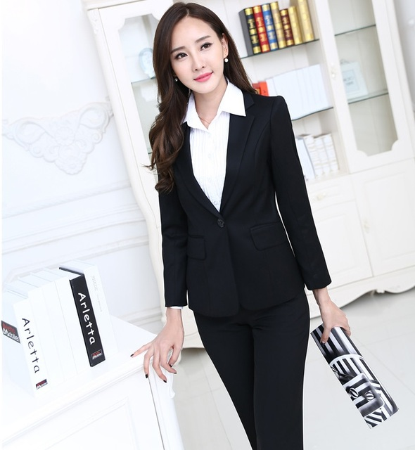 New Spring Autumn Professional Work Suits With Jackets And Pants Slim Fashion  Ladies Trousers Sets Female cb037427b