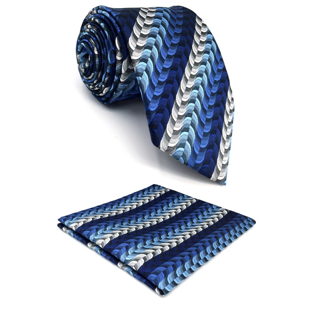 D23 Blue Ripple Men Neckties Silk Fashion Novelty Extra long size 63 Brand New Ties for male Groom Hanky