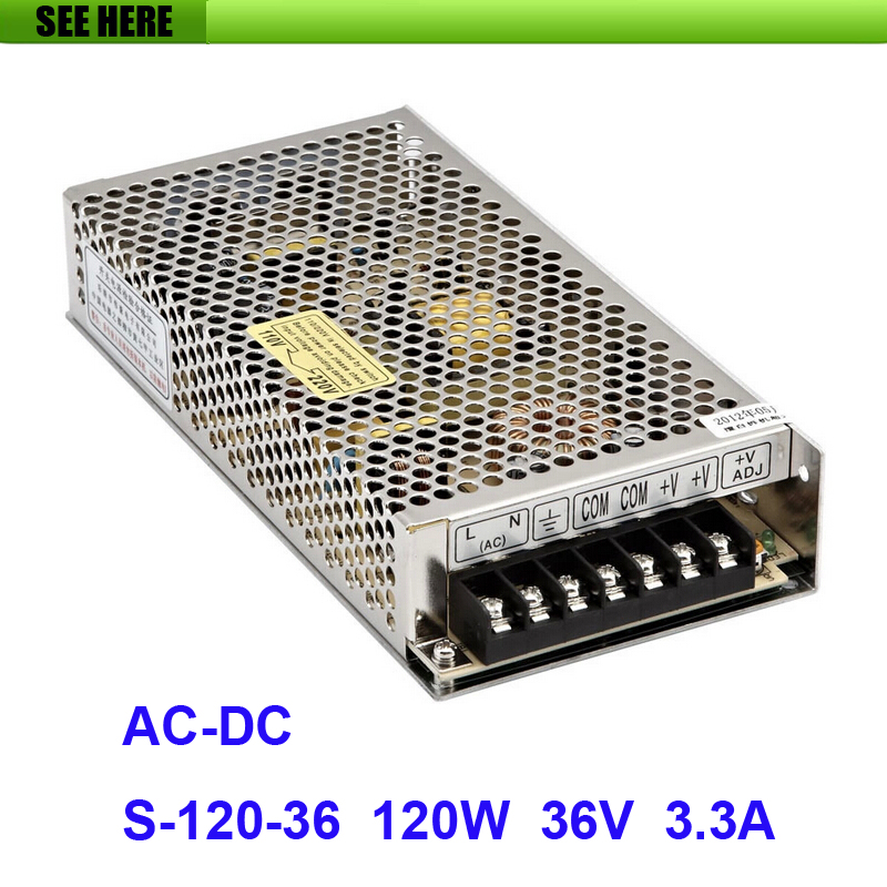 Free Shipping Universal 36V 3.3A 120W Switch Power Supply Driver Switching For LED Strip Light Display 110V 220V S-120-36 free shipping universal power supply 24v 10a 240w switch power supply driver switching for led strip light display 110v 220v