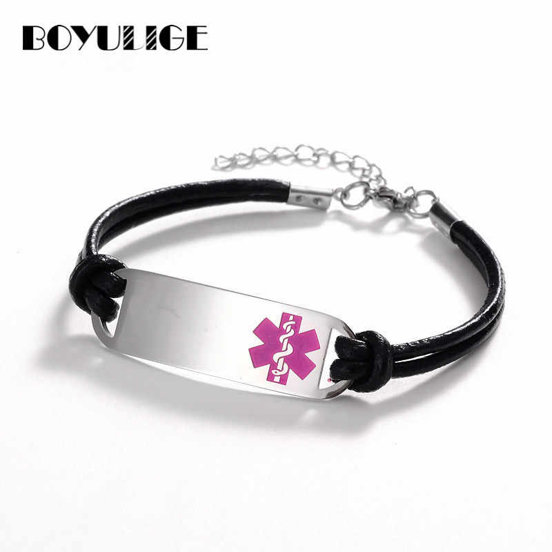 BOYULIGE High Quality Simple Leather & Stainless Steel Men Bracelet Medical Alert ID Tag Engrave BraceletS For Women Adjustable