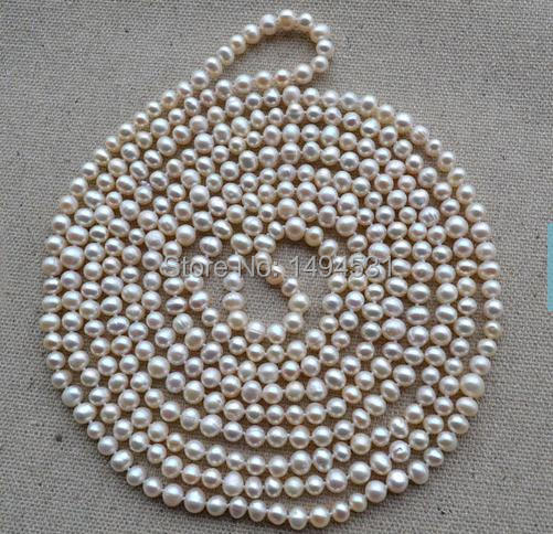 Wholesale Pearl Jewelry - 100 Inches 6-7mm Long White Color Genuine Freshwater Pearl Necklace,Handmade Jewellery
