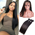 7A 360 Lace Frontal With Bundle Brazilian Straight Hair Bundles With Lace Closures 22x4x2 360 Lace Frontal Closure With Bundles