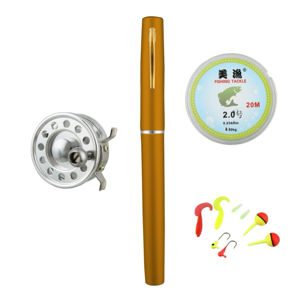 Mini Fly Fishing Rod Reel Combos Aluminum Alloy Portable Telescopic Pen Fishing Pole Extended 99cm Fishing Accessories New