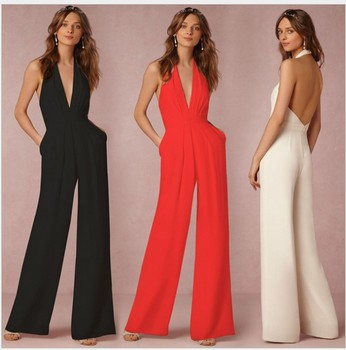 New Arrival Girls Fashion Sexy Slim Long Jumpsuits Lady S Elegant V Neck Rompers Clothing Black Red White 2Xl L M