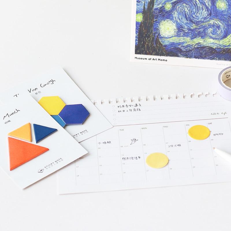 8 pcs/Lot Famous Artist memo pad Van goah Monet color post diary Sticker planner Office accessories School supplies F690