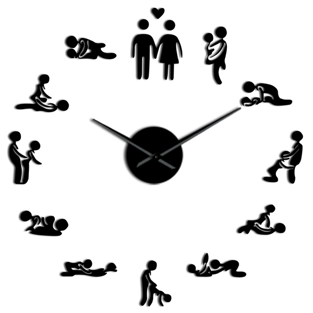 US $10.07 16% OFF Sex Love Position Mute Wall Clock Bachelorette Game Sexy  Kama Sutra 3D DIY Clock Watch Adult Room Decor Acrylic Big Time Clock-in ...