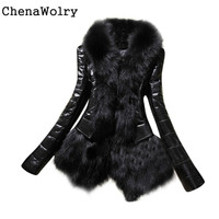 Winter Casual Long Sleeve New Designer Women Warm Fur Collar Coat Leather Thick Jacket Overcoat Parka