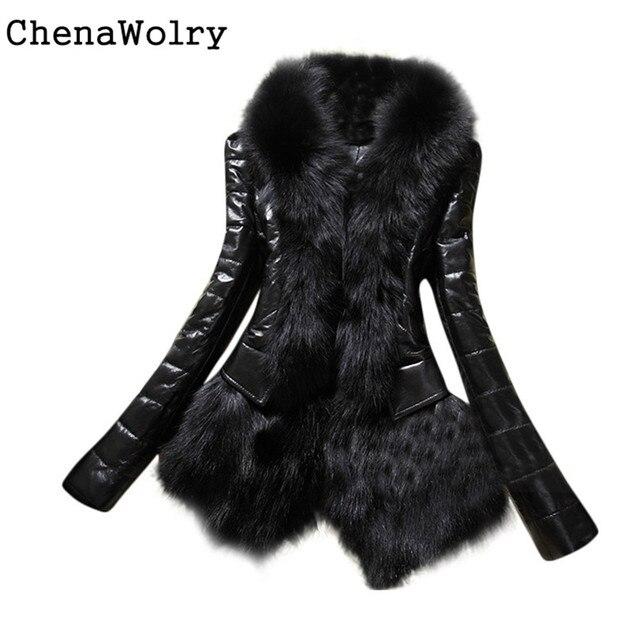 2d10cef183 Winter Casual Long Sleeve New Designer Women Warm Fur Collar Coat Leather  Thick Jacket Overcoat Parka
