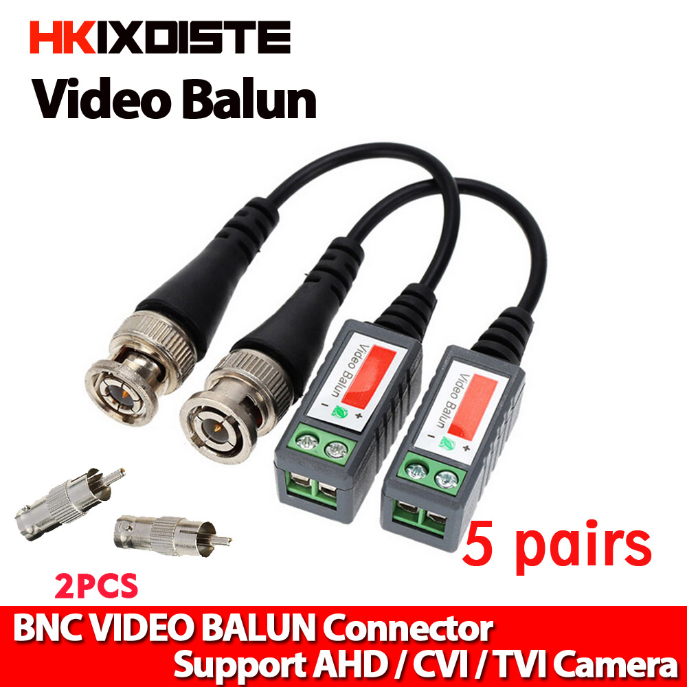 10 Set CAT5 TO BNC Passive Video and Power Balun Transceiver