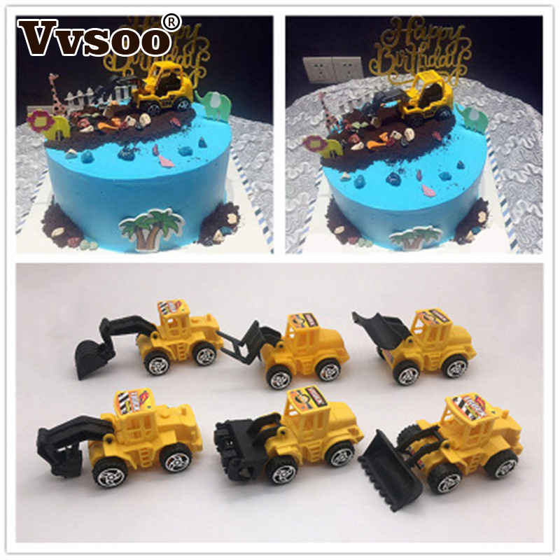 Vvsoo 6pcs/set Excavator Cupcake Cake Topper Happy Birthday Cake Decor for Kids Birthday Party Decoration Child Gifts Toys(China)