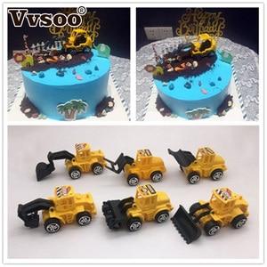 Vvsoo 6pcs/set Excavator Cupcake Cake Topper Happy Birthday Cake Decor for Kids Birthday Party Decoration Child Gifts Toys(China)