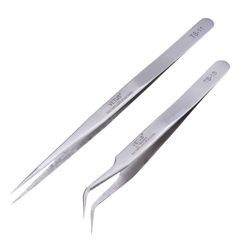 High Precision Tweezers Pinzette Forceps Stainless Steel Curved Straight VETUS Tweezer TS-11 TS-15