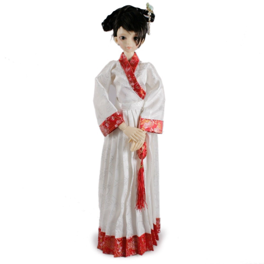 [wamami] 699# White&Red Chinese Classical Dress 1/4 MSD DZ AOD BJD Dollfie 699 blue ancient costume dress outfit for 1 4 msd aod dod dz bjd dollfie