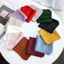 2018 Women NEW Fashion Scarf Luxury Brand Plain Solid Square Hijab Silky Satin S