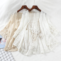 Harajuku kimono Hollow Out Lace embroidered blouse Short Sleeve blouse Cardigan boho see through top women sexy shirt blusas