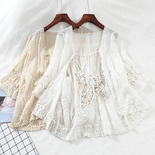 Harajuku kimono Hollow Out Lace embroidered blouse Short Sleeve blouse Cardigan boho see through top women sexy shirt blusas embroidered hollow out batwing kimono