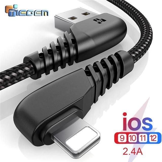 TIEGEM câble USB 90 degrés pour iPhone X 8 7 6 5 6 s plus câble de charge rapide chargeur de téléphone portable câble de données Usb 1M2M3M