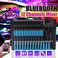 12 Channel bluetooth USB Digital Microphone Sound Mixer Console Professional Karaoke Audio Mixer Amplifier KTV Sound Mixer