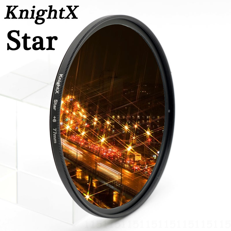 KnightX 52 58 67 72 77 mm Star Filter Point Line 58mm för Canon 18-55mm EOS Rebel T4i T3i T2i-objektiv DSLR d3200 d5200 d5300 d3300