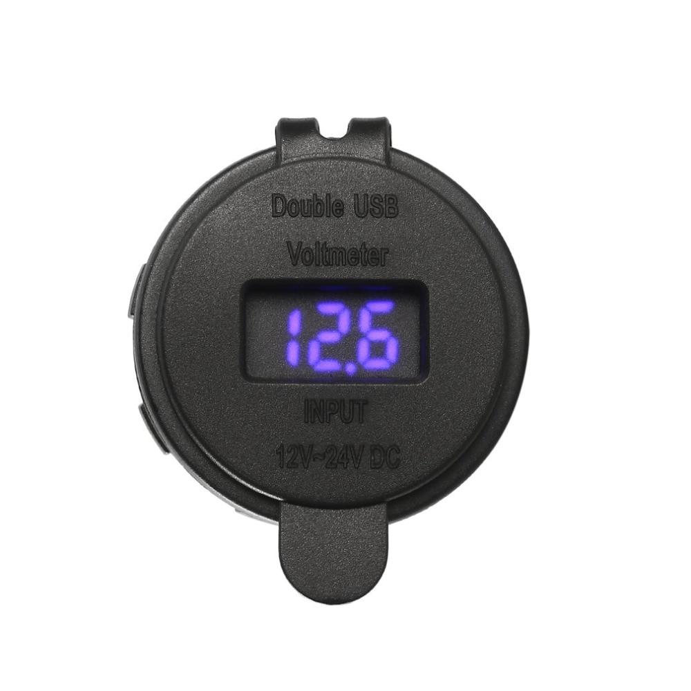 Waterproof Heat-resistant 12V DC Motorcycle Car 3.1A Dual USB LED Charger Socket Voltage Voltmeter Outlet Panel