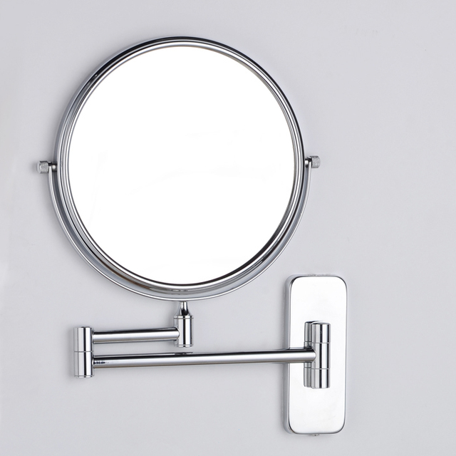 "8"" Double Mirror 1:1 and 1:3 Brass Magnifying Cosmetic Mirror Folding Bathroom Make Up Two Bath Square"