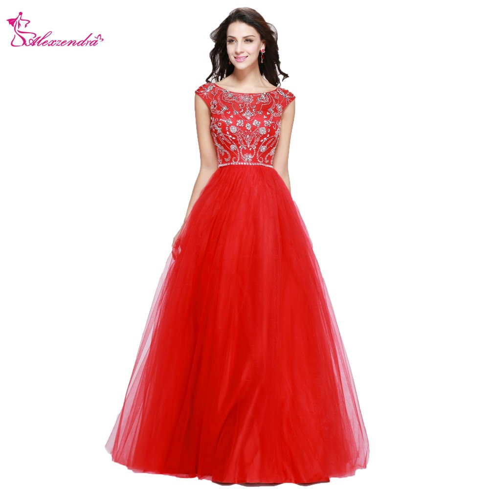 Alexzendra A Line Beaded Crystal Long Tulle Prom Dresses Plus Size Formal  Evening Gowns Party Dress 7b87067f3784