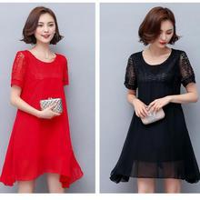 Women Large Size Patchwork Dress 2017 Casual Loose short sleeve Plus Size Female Clothing M-4XL Red black Chiffon vestidos 4XL