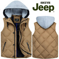 2017 NEW arrival AFS JEEP autumn winter men's with hood Jeep sleek duck down vest male fashion casual M L XL 2XL 3XL 4XL5XL