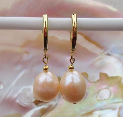 new 9-11MM AAA PERFECT south sea white pearl earrings Rose gold color