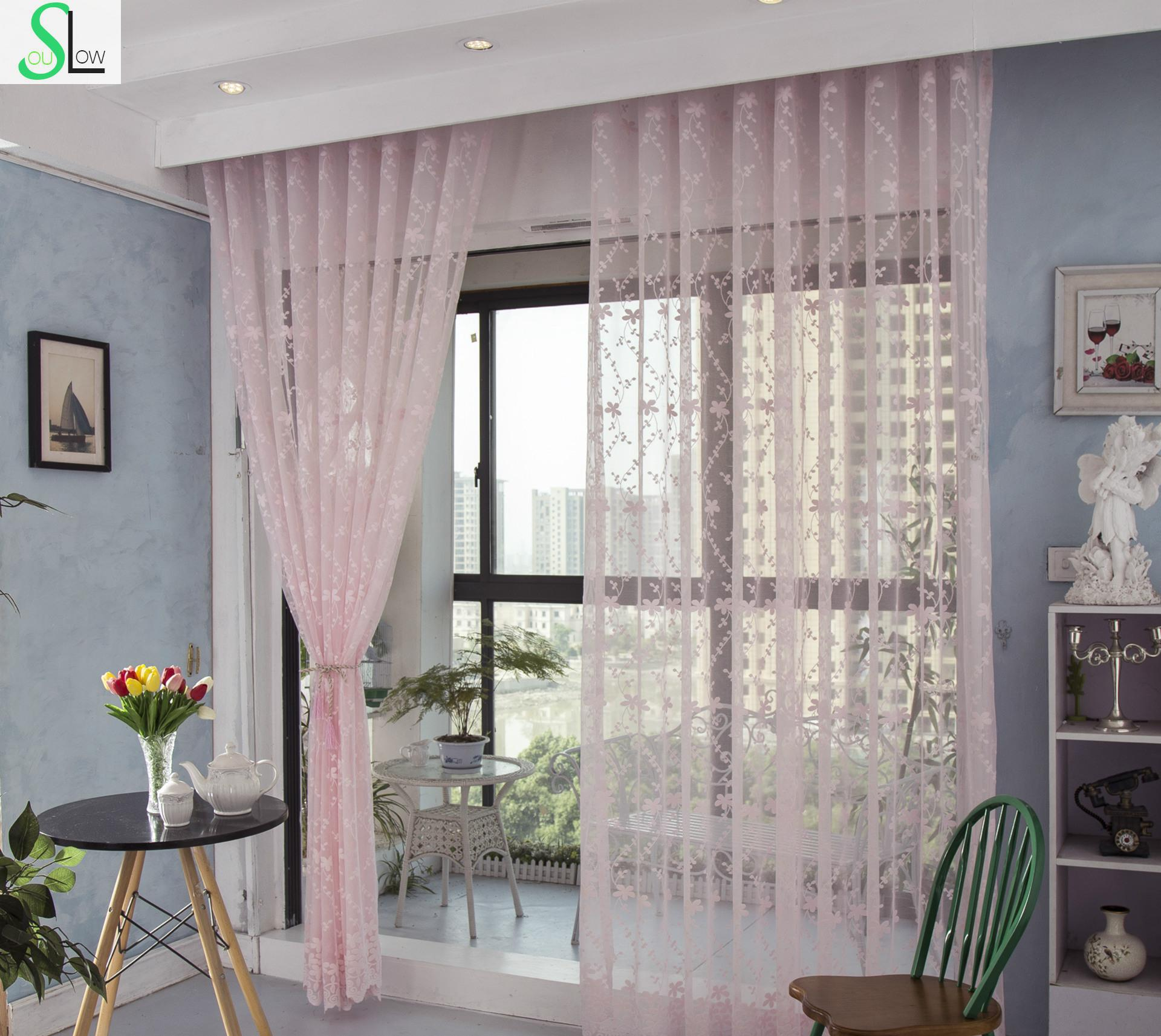 Slow Soul Pink Cream Light Yellow Shade Curtains Pleated Europe Cortinas Tulle For Living Room Kitchen Bedroom Sheer Fabric In From Home Garden