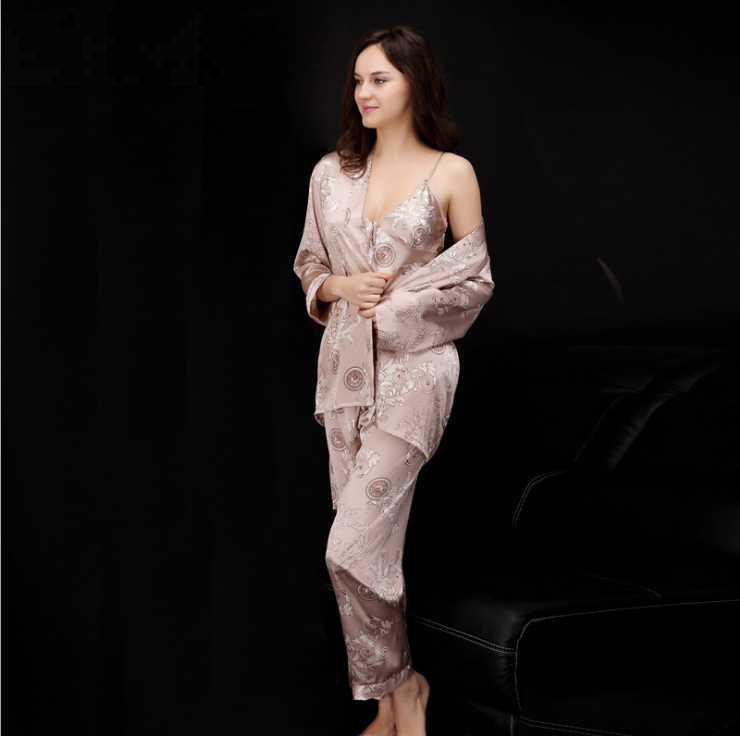 women silk   pajamas     sets   of three items inner outer sexy couples long-sleeve leisurewear robe   sets   sleeps lounge homewear ck1702