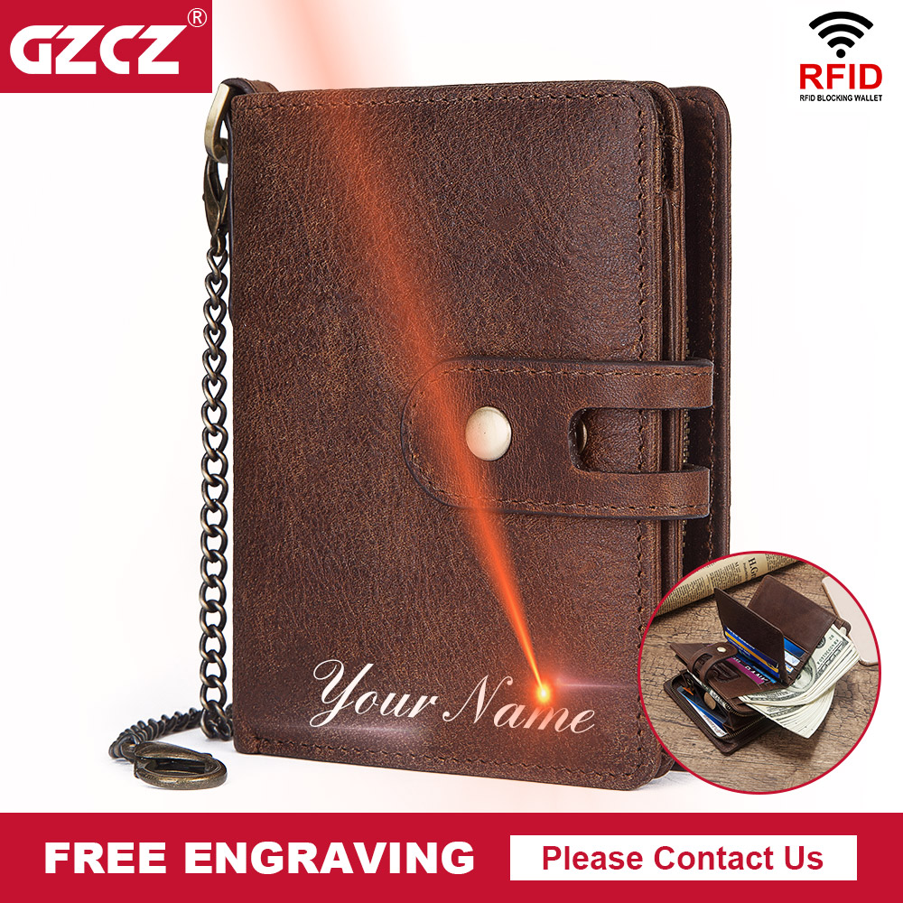 GZCZ Cow Wallet Purses Hasp Card-Holders Coin-Pocket Money RFID Small Vintage Short Men