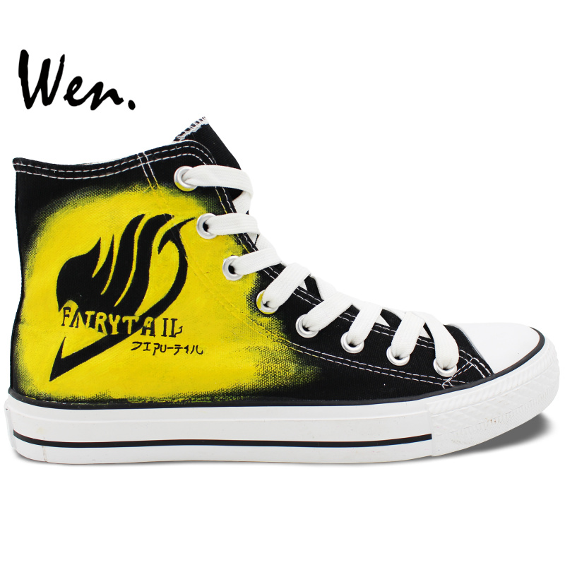 Wen Hand Painted Anime Shoes Fairy Tail Logo and Natsu Black High Top Men Womens Canvas Sneakers for GiftsWen Hand Painted Anime Shoes Fairy Tail Logo and Natsu Black High Top Men Womens Canvas Sneakers for Gifts