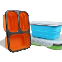 Mrosaa 3 Cells Portable Silicone Bento Lunch Box Collapsible Microwave Lunchbox Folding Fruit Food Storage Container  for Kids