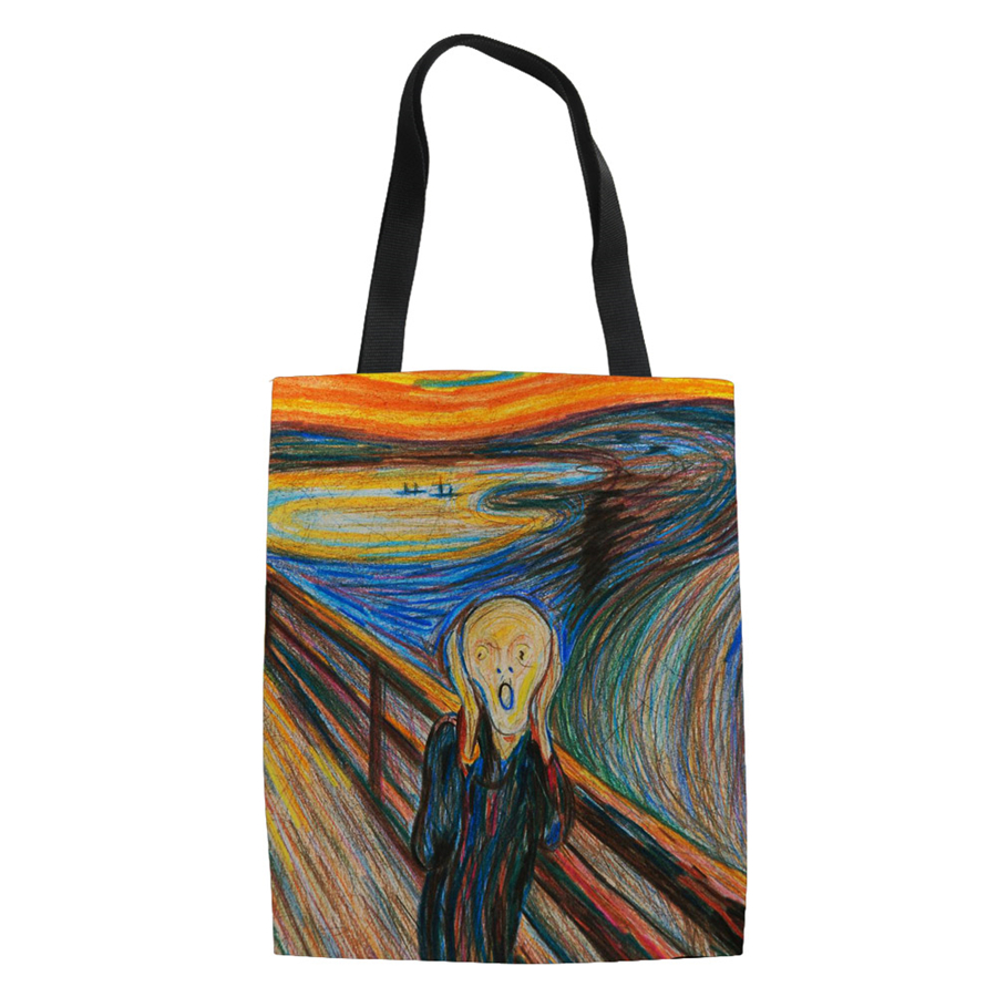 Famous Van Painting Women Canvas Shopping Bags Casual Tote Eco Friendly Shoulder Versatile Sack Summer Lady Olils DIY Handbag