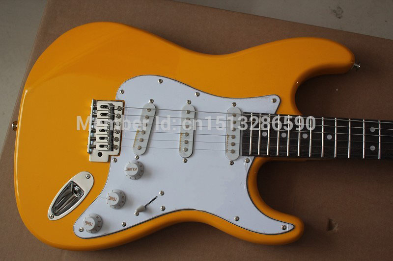 . Free shipping New yellow Stratocaster 6 string white Electric Guitar in stock,S-S-S noise reduction pick-up
