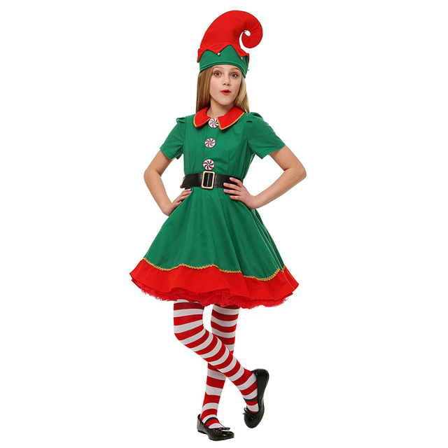 cute girls halloween costume short sleeves red green christmas costumes elf dress hat belt 3pcs