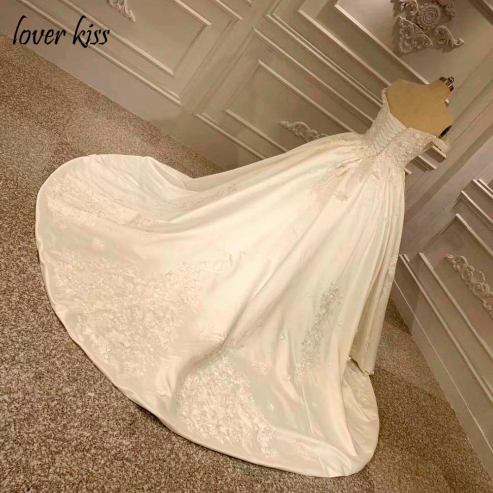 Lover Kiss vestido de novia Princess Sweetheart Off Shoulder Wedding Dress Satin Gowns Lace 3D Flowers