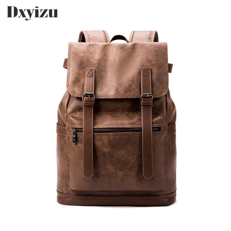 Preppy Style Leather School Backpack Bag For College Simple Design Large Capacity Laptop Black Brown Backpacks Men's Bags