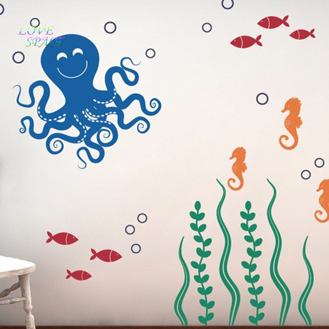 Sea Ocean Friends Octopus Seahorses Seaweed Fish Vinyl Nursery Wall Decals Children Stickers