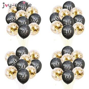 JOY-ENLIFE 10 Uds globos inflables de confeti 12 pulgadas globos de látex 30 40 50 60 años fiesta de cumpleaños globos de helio de aluminio para adultos