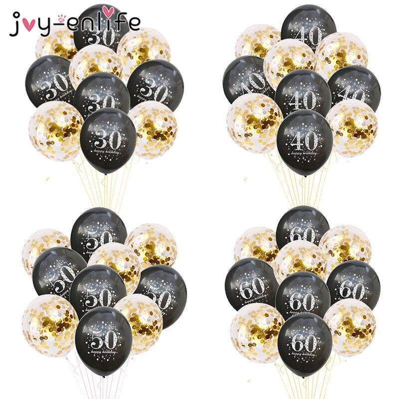 JOY-ENLIFE 10 pcs Confetti 12 polegada Balões Balões De Látex Inflável 30 40 50 60 Anos Folha de Hélio da Festa de Aniversário Adulto balões