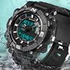 2017 SANDA Men S Watches Dual Time Zone Alarm LED Sport Mens Quartz Watch Silicone Waterproof