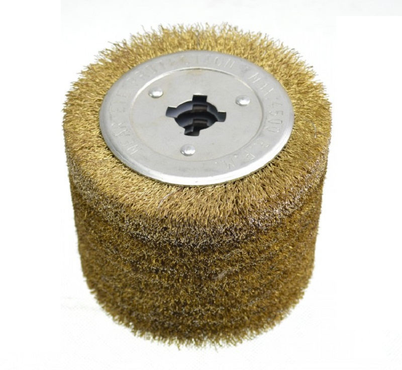 Gold Steel Wire Drawing Polishing Burnishing Wheel Steel Wire Brush Wheel 0.3mm