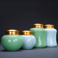 Modern Tea Storage Jar Ceramic Porcelain Seal Caddy Gourd Cans Chinese Kung Fu Tea Set Accessories Decoration Crafts Teaware
