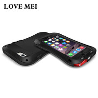 Love Mei For iPhone 5S Case Luxury Brand Aluminum+Soft Silicone Armor Protective Phone Case For iPhone 6S 5 SE 6 Plus Case Cover