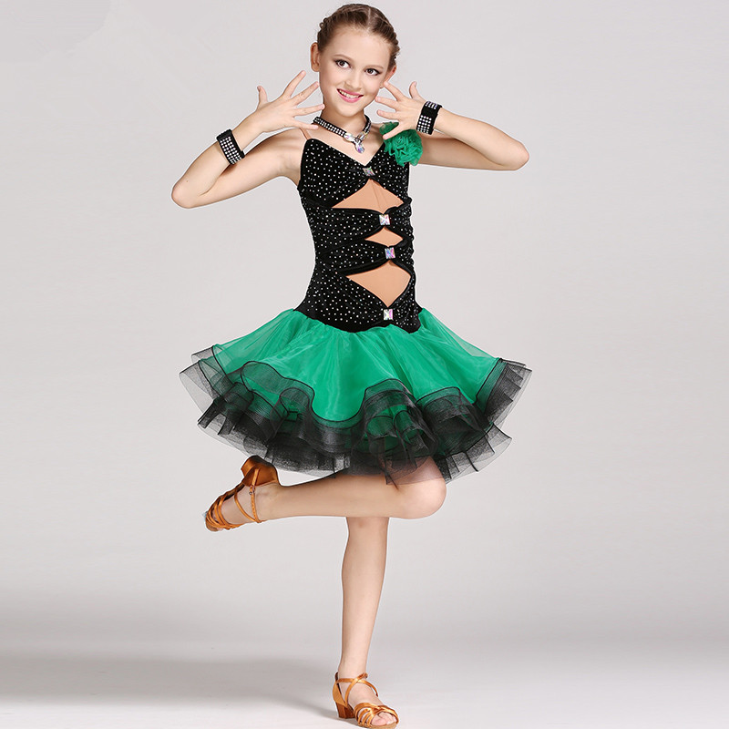 High Quality Child Vestidos Dance Girl Ballroom Latin Sleeveless Dance Dress black with green and rose with royal blue 2 colors
