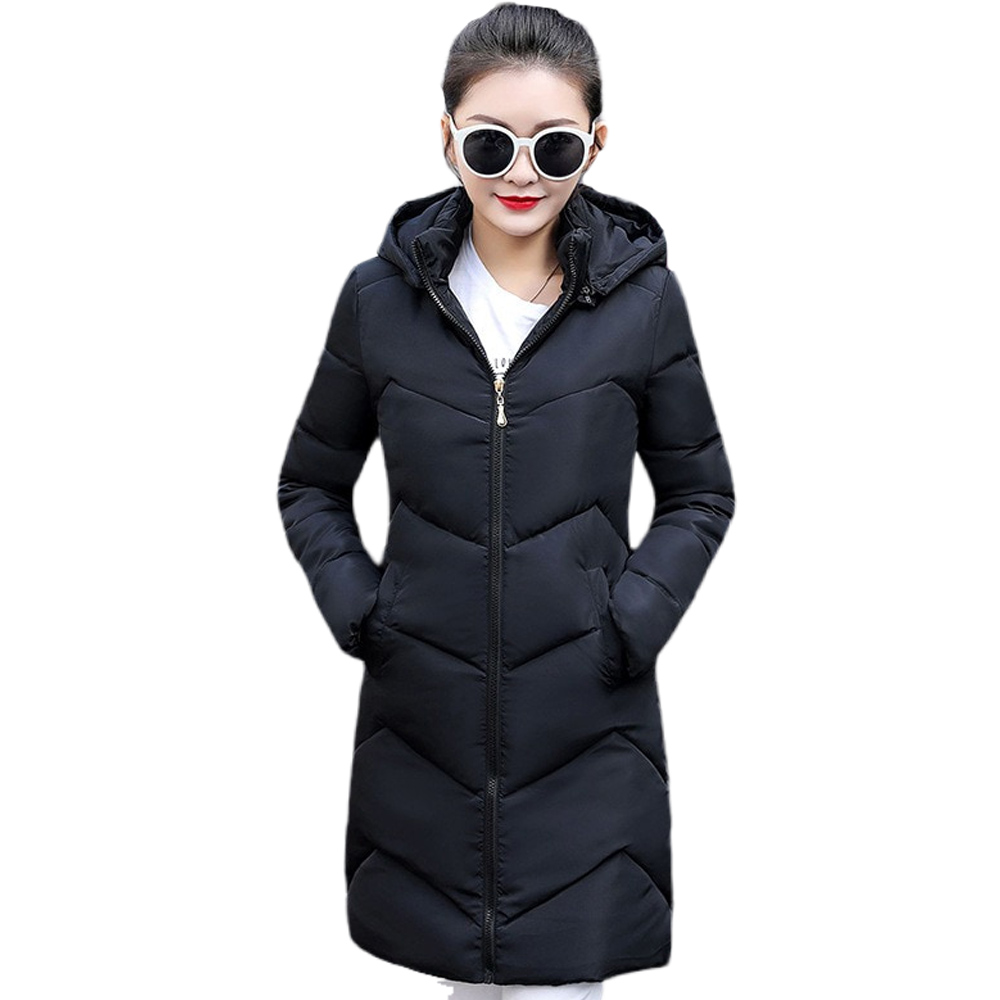 New   parka   women in the winter long cotton-padded jacket 2019 new female with thick cotton-padded jacket
